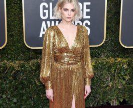 Lucy Boynton 穿著 CELINE BY HEDI SLIMANE 晚禮服