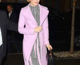 Cate Blanchett 手拿 Alexander McQueen 黑色鱷魚壓紋 Box Bag